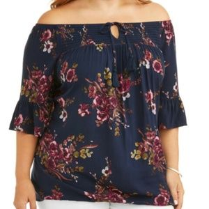 Terra & Sky Floral Peasant Top Size 0X (14W)